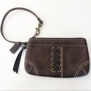 Coach Leather Wristlet with Criss Cross Detailing